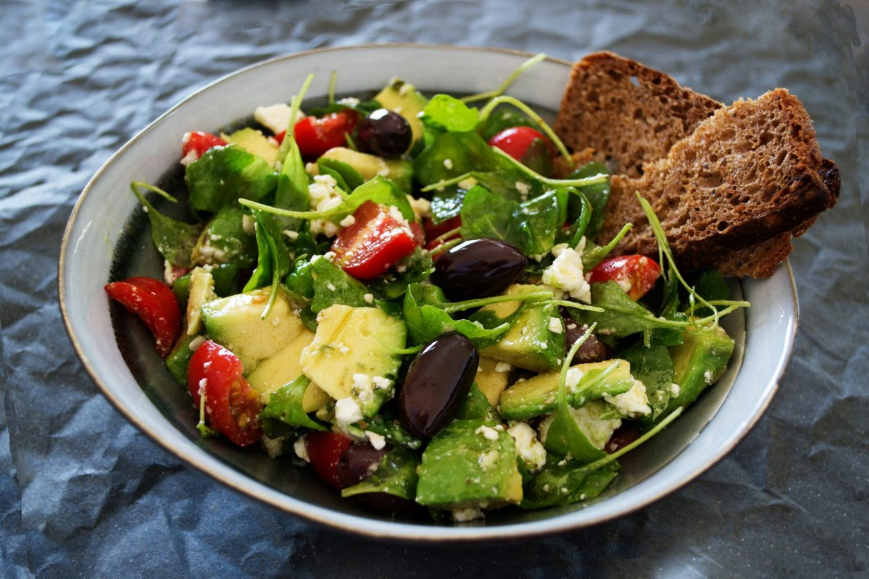 Healthy Greek salad with wholemeal bread
