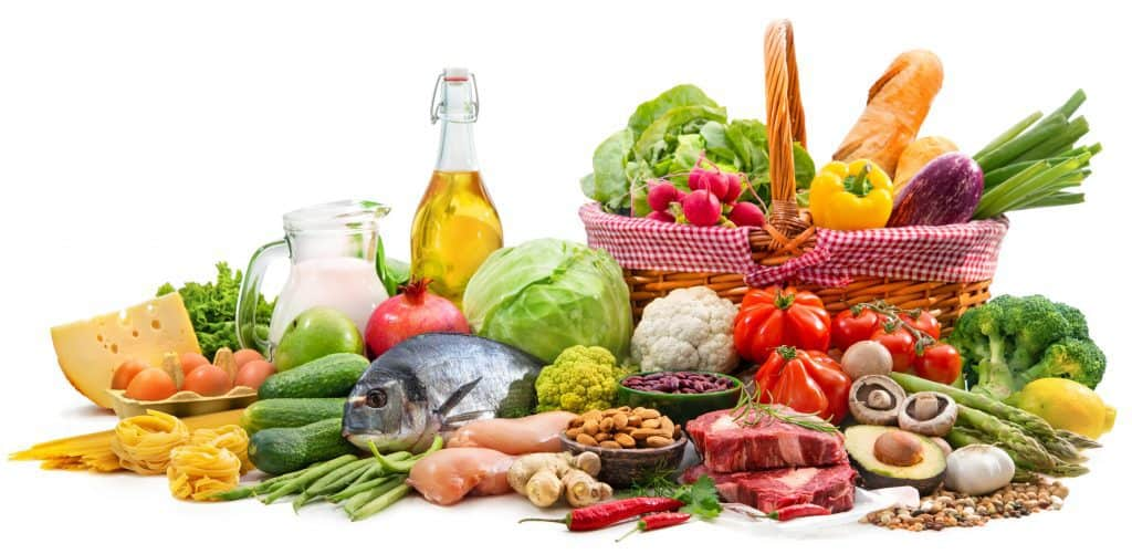 Selection of various Mediterranean diet products for healthy nutrition