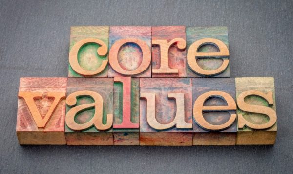 Core Values in colored wooden blocks on grey background