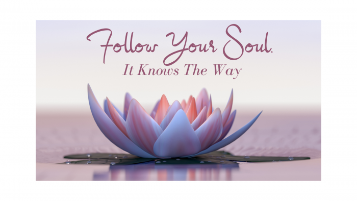Follow your soul written in pink above floating pink water lily