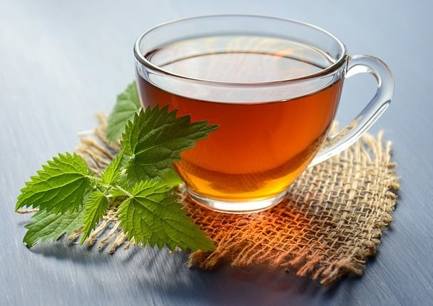 Cup of Herbal tea with mint leaves