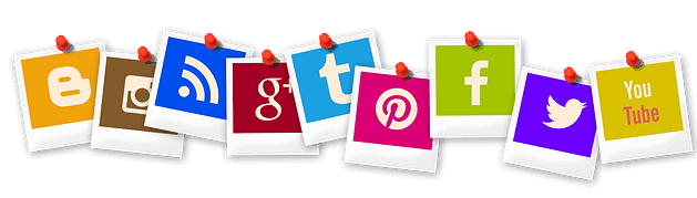 Social media icons pinned to pinboard