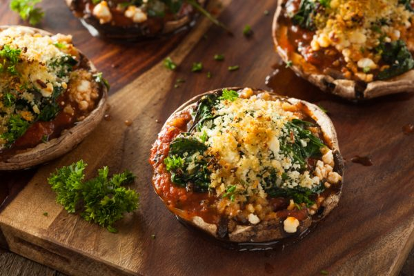 Homemade Baked Stuffed Portabello Mushrooms with Spinach and Cheese