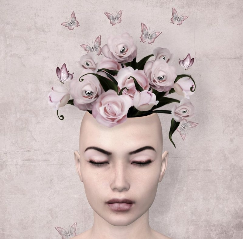 Emotional Intelligence -Surreal illustration of a woman with roses in her mind